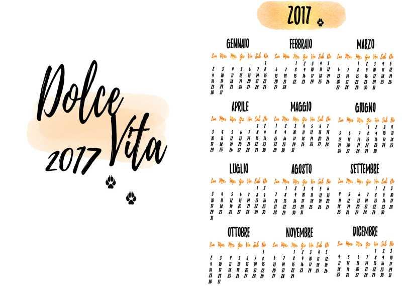 kalendarz roczny po włosku