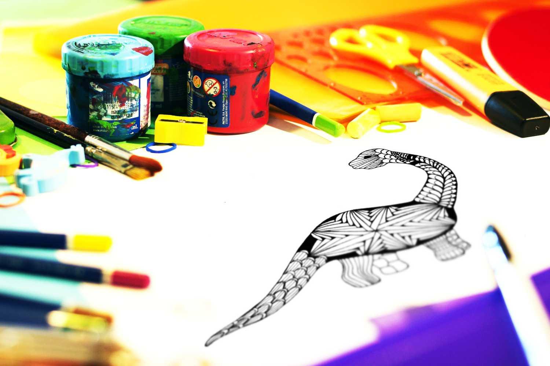 Kolorowanki zentangle dinozaur