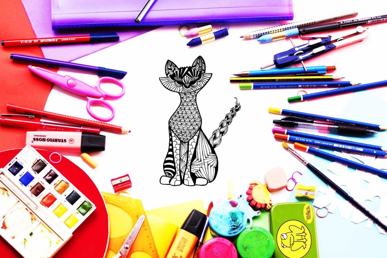 Kolorowanki zentangle kot