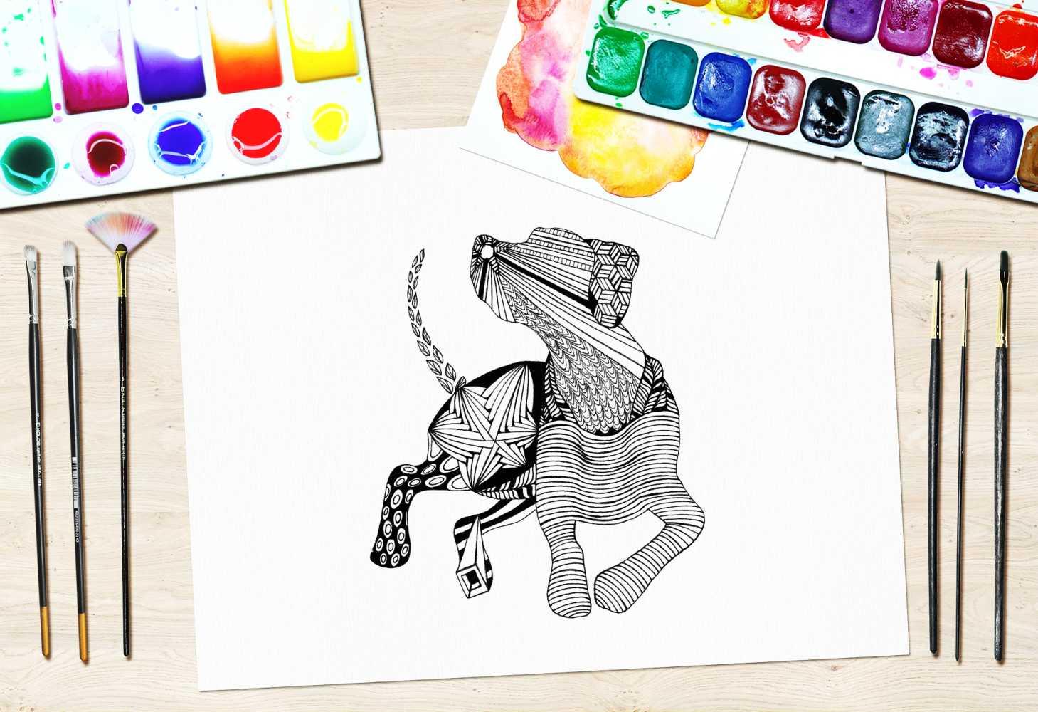 Kolorowanki zentangle pies
